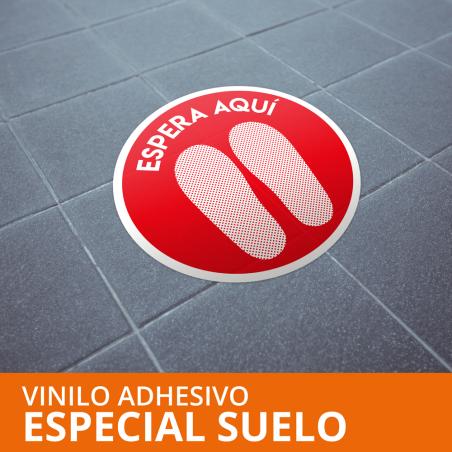 """Vinilo autoadhesivo """"ESPERA AQUI"""" COVID19 especial suelo Ø400mm"""