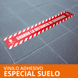 """Vinilo autoadhesivo """"GUARDA LA DISTANCIA SEGURIDAD"""" especial suelo 1000x200 mm"""